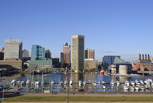a skyline shot from across the river of downtown Baltimore